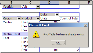 rename a pivot table data field