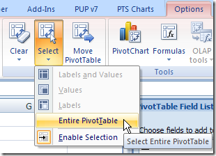 PivotTableSelect