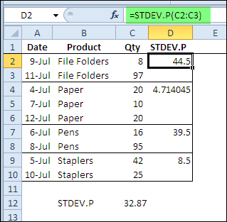Pivot Table Summary Functions: StdDev and StdDevp - Excel Pivot Tables