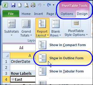 repeat pivot table labels in excel 2010 excel pivot tables