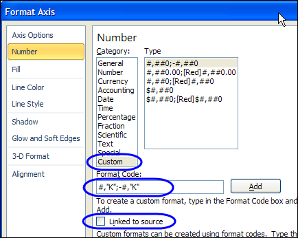 how to change the axis numbers in excel