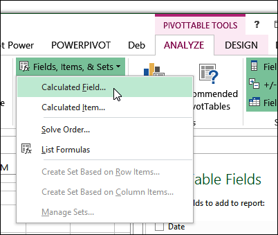 calculated field vs calculated item excel pivot tables
