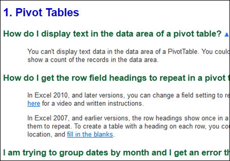 pivot table faqs