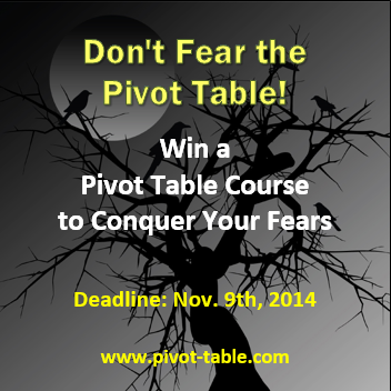 xtreme pivot table giveaway www.pivot-table.com