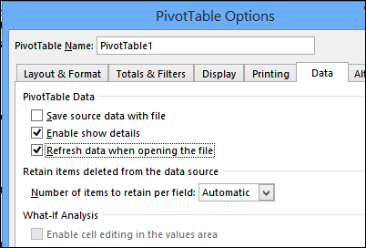 Saving Source Data with Pivot Table File - Excel Pivot Tables