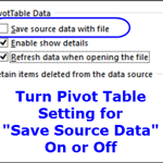 Saving Source Data with Pivot Table File