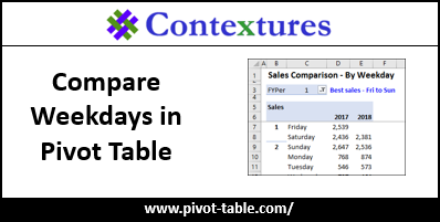 Compare Weekdays in Pivot Table http://www.pivot-table.com/