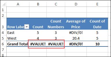 Pivot Table Value Errors - Excel Pivot Tables