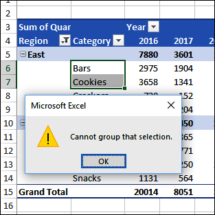 Excel Pivot Table Error Cannot Group That Selection - Excel